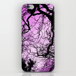 Purple evening moon through the trees iPhone Skin