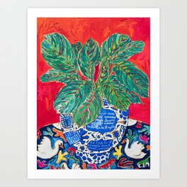 Prayer Plant in Blue-and-White Pot on Swan Table Cloth After Matisse Painting Art Print