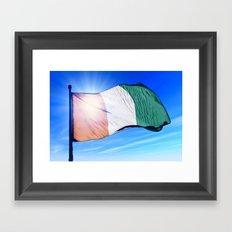 Cote d'Ivoire flag waving on the wind Framed Art Print