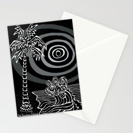Invert Palms and Waves Stationery Cards