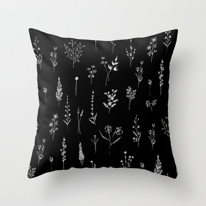 Black wildflowers Throw Pillow