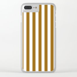 Narrow Vertical Stripes - White and Golden Brown Clear iPhone Case