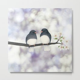 dark eyed juncos (bokeh and blossoms) Metal Print