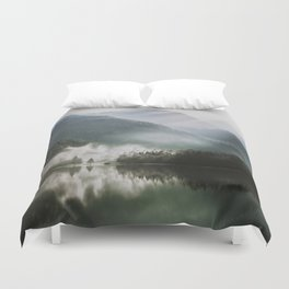 Dreamlike Morning at the Lake - Nature Forest Mountain Photography Duvet Cover