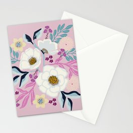 Naturally Beautiful Lavender White Flower Bouquet Stationery Cards