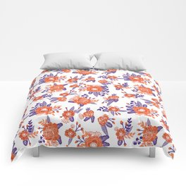 University football fan alumni clemson orange and purple floral flowers gifts Comforters