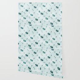 Turquoise flower pattern Wallpaper