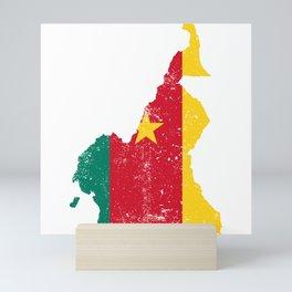 Distressed Cameroon Map Mini Art Print