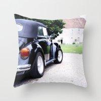 volkswagon Throw Pillows featuring Vintage Volkswagon Beetle by istillshootfilm