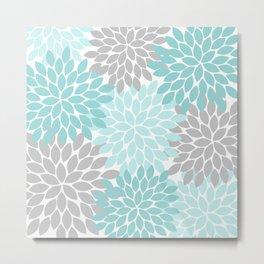 Aqua Gray Floral Flower Burst Petals Design Pattern Metal Print