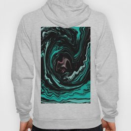 Pink, Teal, Turquoise and Black Abstract Art, Digital Fluid Art Blend Hoody