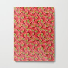 Strawberry fields (Strawberry repeat pattern) Metal Print