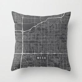 Mesa Map, Arizona USA - Charcoal Portrait Throw Pillow