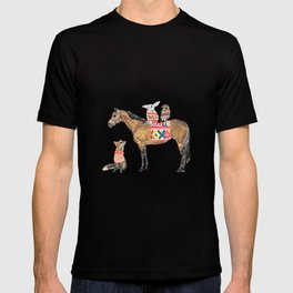 Family with horse, fox, rabbit, owl T-shirt