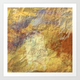 Golden Textures with Purple and Rust Art Print