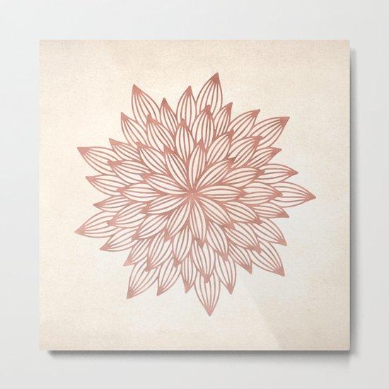 Mandala Flowery Rose Gold on Cream Metal Print