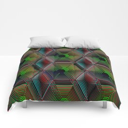 Hypnotic Geometric - Dark Comforters
