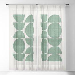 Green Retro Scandinavian - Mid Century Modern Sheer Curtain