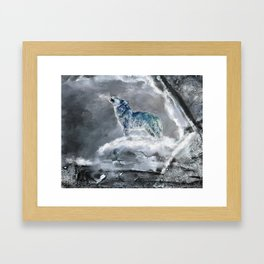 Blue Snow Wolf Framed Art Print