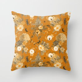Vintage & Shabby Chic - Golden Summer Day Botanical Flower Roses Garden Throw Pillow