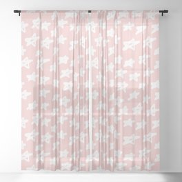 Stars on pink background Sheer Curtain