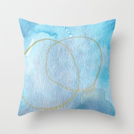 Explosions: soft layers of blues, silvers and gold. Throw Pillow