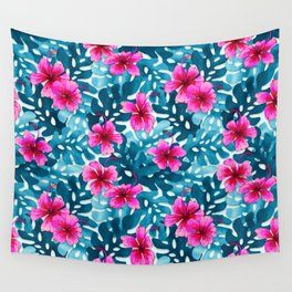 Tropical Hibiscus Pattern Pink Wall Tapestry