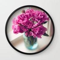 peony Wall Clocks featuring Peony by Jenny Ardell