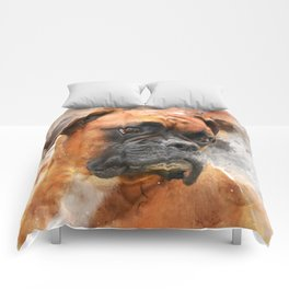 Boxer Dog Thinking Comforters