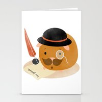 guinea pig Stationery Cards featuring Guinea Pig Portrait 2 by NdKf