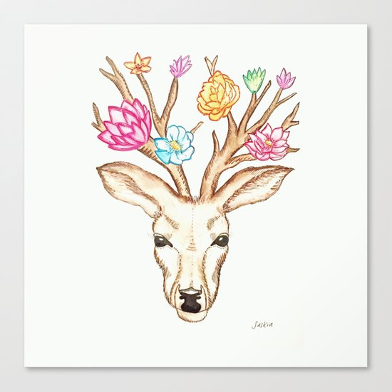 Deer with flowers Canvas Print