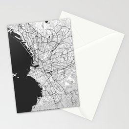 Marseille Map Gray Stationery Cards