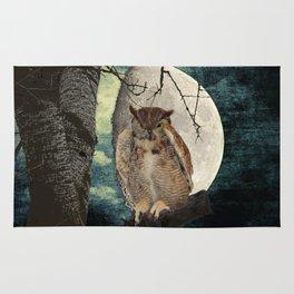 Great Horned Owl Bird Moon Tree A138 Rug