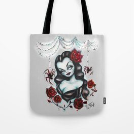 Vampire Vixen with Roses Tote Bag