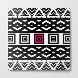 Girly Black White Abstract Geometric Pattern Pink Metal Print