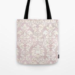 Beige Shabby Damask Pattern Tote Bag