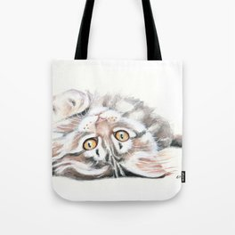 Cute Maine Coon Kitten Playing Tote Bag