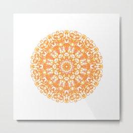 Mandala 12 / 1 eden spirit orange yellow pink Carnelian Metal Print