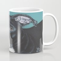 pit bull Mugs featuring Pedro the handsome Pit Bull  by heathercarey/fuzzymestudios