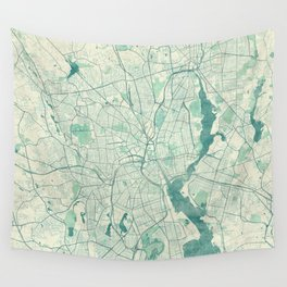Providence Map Blue Vintage Wall Tapestry