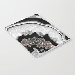 Gray Black White Agate with Silver Glitter #2 #gem #decor #art #society6 Notebook