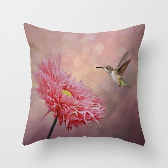 A Hummingbirds Dance Throw Pillow