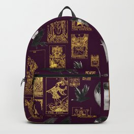 Beautiful Pagan Themed Print - Tarot Cards, Moon Cycles and Ravens Backpack