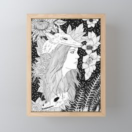 wolf and the girl Framed Mini Art Print