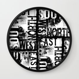 East South North West Black White Grunge Typography Wall Clock