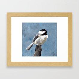 Chickadee Original Acrylic Art on Canvas,Bird Painting, Chickadee Wall Art, Bird on a Branch Framed Art Print