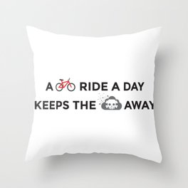 A bike ride a day keeps the pollution away Throw Pillow