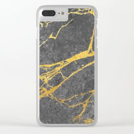 Matte black marble with gold Clear iPhone Case
