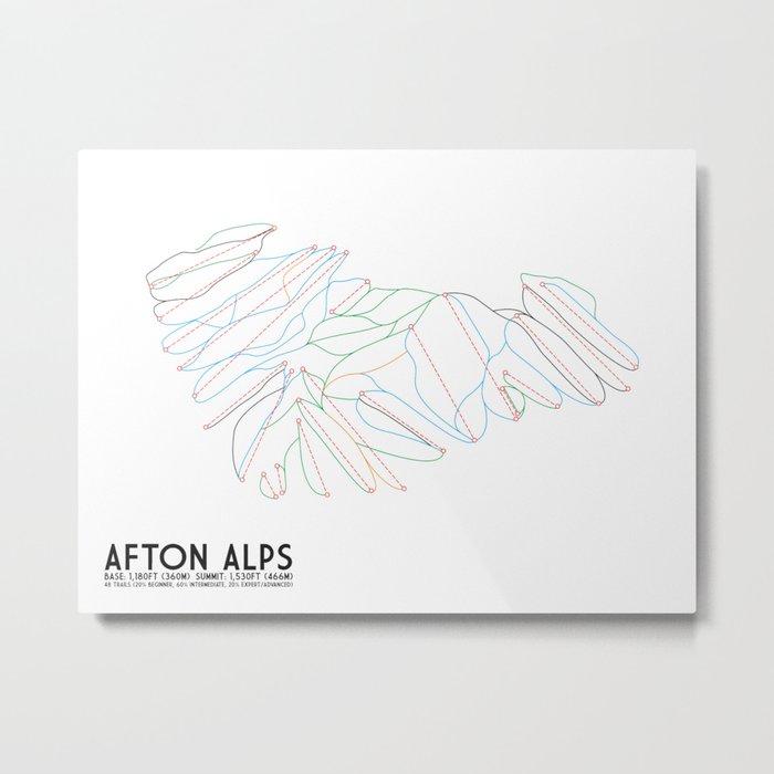 Afton Alps, MN - Minimalist Trail Art Metal Print