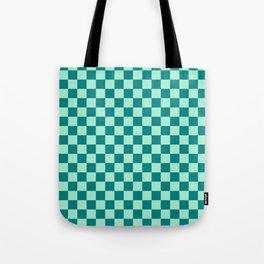 Magic Mint Green and Teal Green Checkerboard Tote Bag